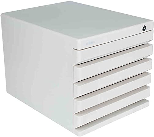 Caja de almacenamiento de sobremesa con cerradura, ABS, cajón de plástico, datos, almacenamiento de oficina, archivo A4, archivador pequeño: Amazon.es: Hogar