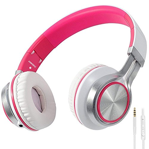 Biensound HW50C Headphones with Microphone and Volume Control Foldable Lightweight Headset for iPhone iPad Tablets Smartphones Laptop Computer PC Mp3/4 (White/Pink)