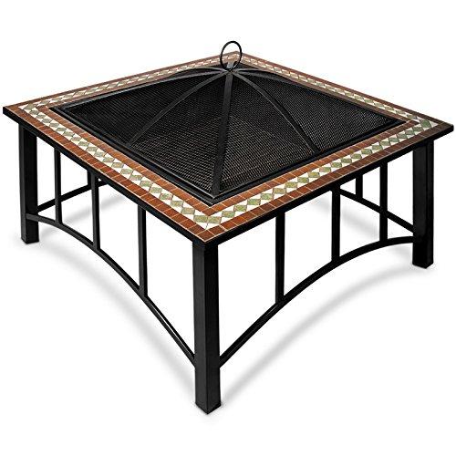 Brasero con mosaico Ø86 cm Negro y multicolor | Gancho para ...