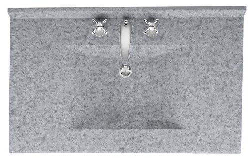(Swanstone CV2231-042 Contour Solid Surface Single-Bowl Vanity Top, 31-Inch by 22-Inch, Gray Granite)
