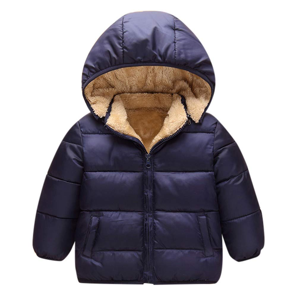 Zhen+ Unisex Baby Kinder Winter Mantel Daunenmantel für 1-6 Jahre Jungen Mädchen Outdoor Fleecejacke mit Kapuzen Einfarbige Warme Coat Windjacke Winterjacke Verdicken Mantel