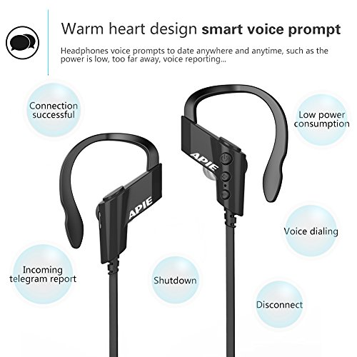 WSCSR-Wireless-Sports-Bluetooth-V41-Headphones-Sweatproof-Running-Exercise-Stereo-with-Mic-Earbuds-Earphones-Noise-Cancelling-Neckband-Earphones-Black-Black