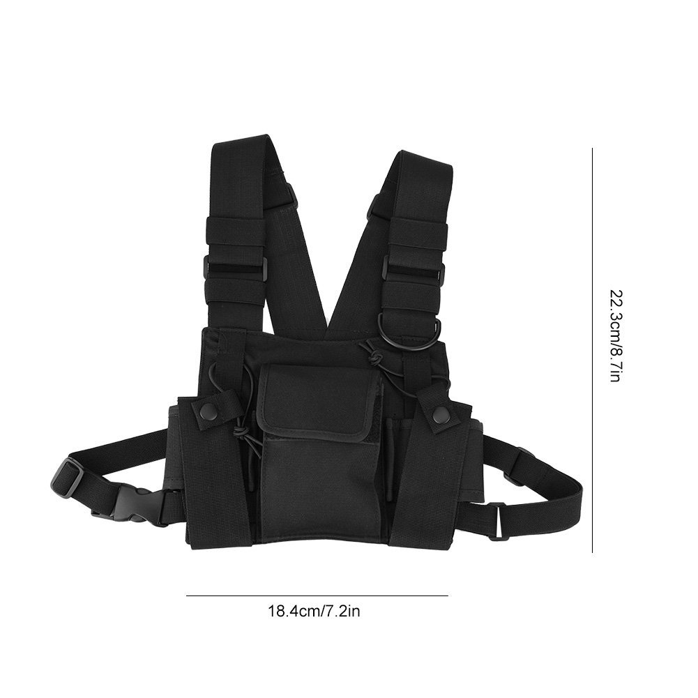 Walkie-Talkie Chest Pack Bag Outdoor Sports Kits Adjustable Chest Rig Tactical Walkie Talkie Pouch Pocket for Two-Way Radios