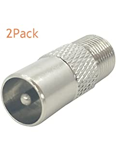 Silver Tone Plated F Female To TV Pal Male Plug RF Coaxial Adapter 2 Pcs