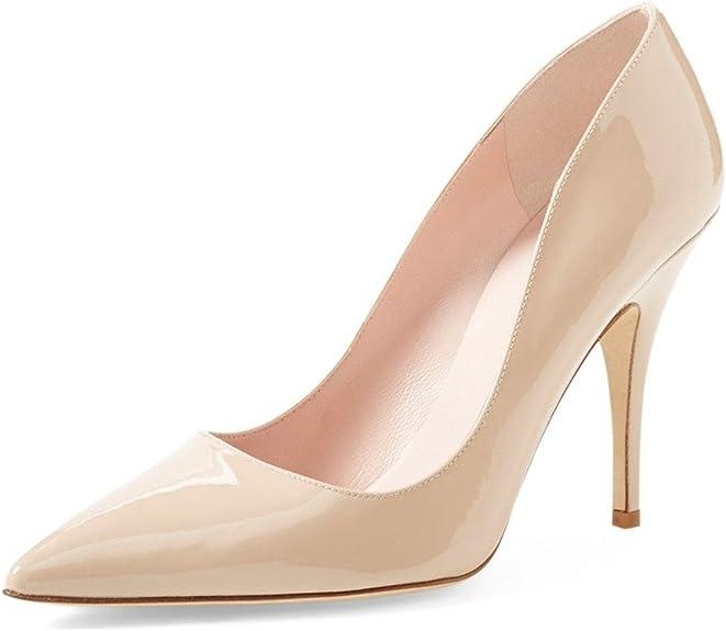 XYD Women Pointed Toe Mule Slide Sandals Rhinestone Buckle High Heel Slip On Slipper Pumps