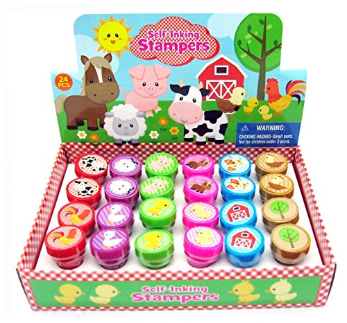 TINYMILLS 24 Pcs Barnyard Farm Animals Stampers for Kids ()