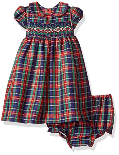 Laura Ashley London Baby Girls Classic Dress With Smocking, Christmas Plaid, 18M