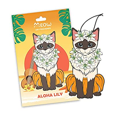 Woofy Meow Hanging Car Air Freshener - Adorable Kitty Design - Long Lasting Scents - [ Pack of 3 Aloha Lily ]: Automotive