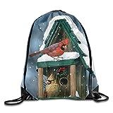 Winter Red Bird Birdhouse Drawstring Bags Portable Backpack Pocket Bag Travel Sport Gym Bag Yoga Runner Daypack