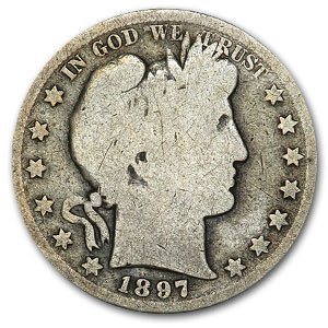 1897 S Barber Half Dollar AG Half Dollar About Good