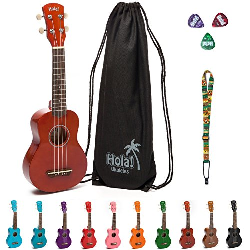 Hola! Music HM-21MG Soprano Ukulele Bundle with Canvas Tote Bag, Strap and Picks, Color Series - Mahogany - 2 FREE months of Live Online Lessons!!