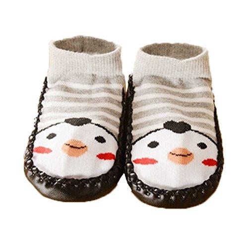 Zapatillas calcetines bebé con suela antideslizante de 6a 24Meses rosa rosa Talla:6 a 12 meses negro