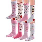 Deer Mum Girl's Fruits Florals Pattern Knee High Socks(8 Pairs)