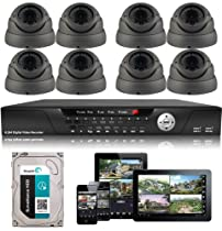 USG Business Grade 720P 1.3MP CCTV Kit: 1x 16 Channel DVR + 8x 1000TVL 2.8-12mm Dome Cameras + 1x 2TB HDD *** Complete CCTV Video Surveillance