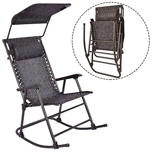 LTL Shop Folding Rocking Chair Porch Patio Indoor Rocker With Canopy & Headrest