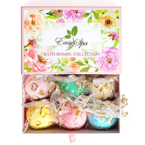 EasySPA Large Bath Bombs Gift Set - 6 x 5oz Premium Aromatherapy Essential Bath Fizzies - Gift For Women, Mom, Girls, Teens, Her - Best For Relaxation ()