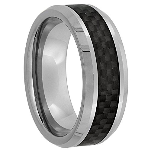 Tungsten Wedding Carbon Beveled Comfort