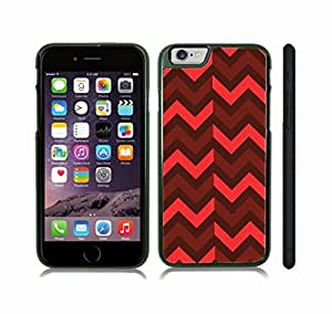 iStar Cases? iPhone 6 Plus Case with Chevron Pattern Brown/ Maroon/ Melon Stripe Snap-on Cover Hard Carrying Case for iPhone6 (Black)