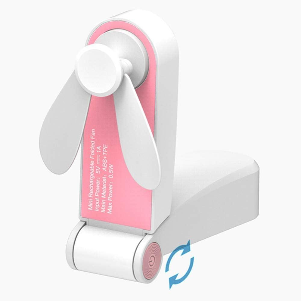 TINERS USB Pocket Fold Fans Electric Portable Hold Small Fans Originalidad Pequeño Hogar Electrodomésticos Ventilador eléctrico de Escritorio,Pink