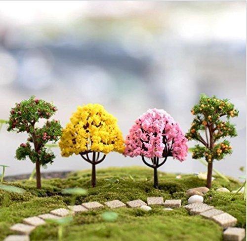 Urgrace 8pcs/lot Mini arbre artificiel miniature plantes Fairy Garden Ornement Gnome mousse Terrarium Décor pour artisanat bonsaï Bouteille Jardin Micro aménagement paysager Décor Décorations DIY Accessoires URGeace