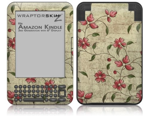 Flowers and Berries Red - Decal Style Skin fits Amazon Kindle 3 Keyboard (with 6 inch display)