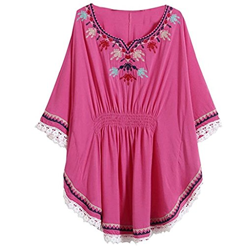 Women Vintage Loosen Embrodiered Batwing Sleeve Dressy Mexican Tunic Peasant Tops Blouse Rose (Sexy Mexican Woman)