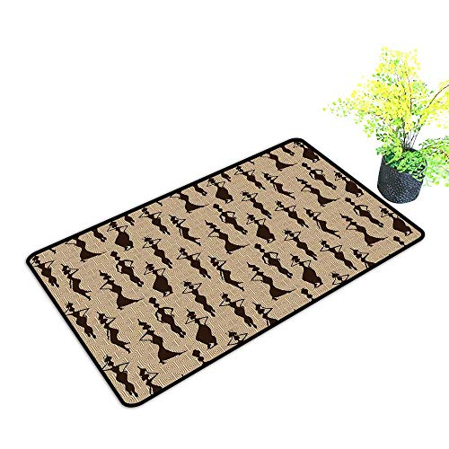 (Zmstroy Door mat Customization African Woman of Color Carrying Water Vases Oriental Culture Silhouette Pattern W31 xL47 Suitable for Outdoor and Indoor use Beige Tan Dark Brown)