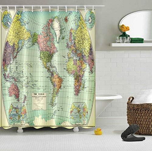 12 Crochets gratuits 180X180cm LUODAN Mappemonde en Tissu Polyester Rideau de Douche imperm/éable d/écoratif dimpression HD adapt/é /à la Salle de Bain