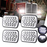 AMUNIESUN 2PC 45w Rectangle 7x6 5x7 Led Headlights 6052 6054 H5054 H6054 Led Headlight Hi/Low Led Sealed Beam H4 Plug For Jeep Wrangler JK XJ YJ 4x4 Toyota Tacoma Pickup Dodge Ram Ford F250 E350 Chevy