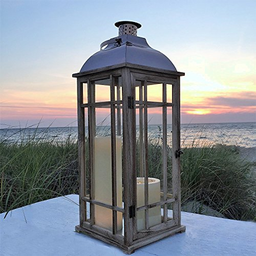 The Tribeca Candle Hurricane Lantern, Copper Colored Metal, Sustainable Pine Wood, Glass, 27 1/8 Inches Tall (69 cm) By Whole House Worlds (Outdoor Hurricane Lantern)