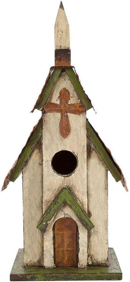 "Glitzhome 11.81"" H Hanging Distressed Wooden Church Birdhouse Garden Decor"