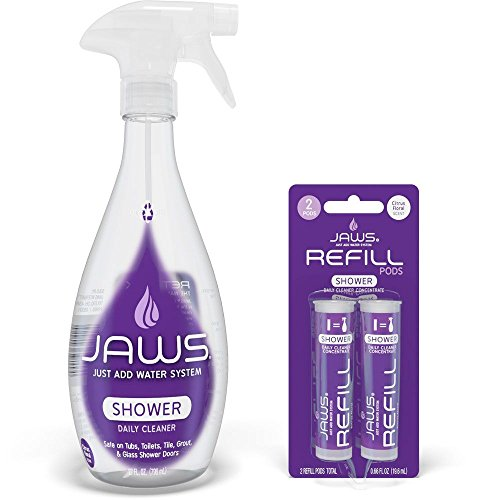 JAWS Daily Shower Cleaner Bottle with 2 Refill Pods. Non-Toxic and Eco-Friendly Cleaning Products. Refill and Reuse.