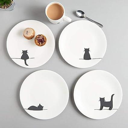 JIN Designs Fine Bone China gato placas laterales, juego de cuatro – 8 Inch –
