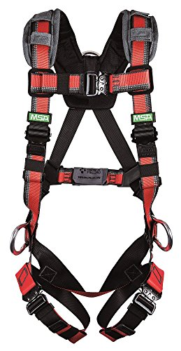 MSA 10163364 EVOTECH Lite Harness, BACK, HIP & FRONT D-rings, Quick-Connect leg straps, X-Large (XLG)