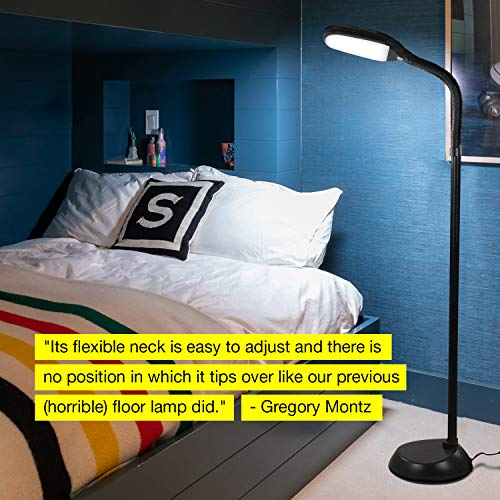 Brightech Bright Reading and Floor Lamp Standing Pole - Adjustable Task Great in Bedrooms - Black