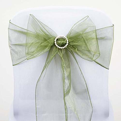Efavormart 25pc x Wholesale Sheer Organza Chair Sashes Tie Bows for Chairs -Catering Wedding Decoration - Moss Green