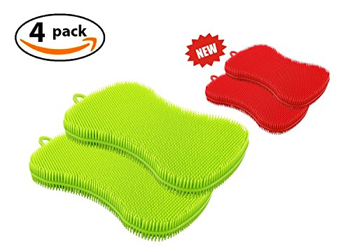 Silicone Kitchen Dish Sponge by SASE (4 Pack!), Washing Scrubber, Antibacterial Food-Grade Dishwasher Friendly, Wash Fruits and Vegetables.
