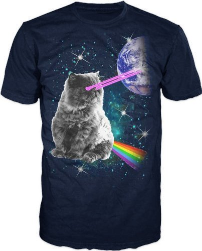 Laser Eyes Space Cat T-Shirt 51F4ucaxFPL