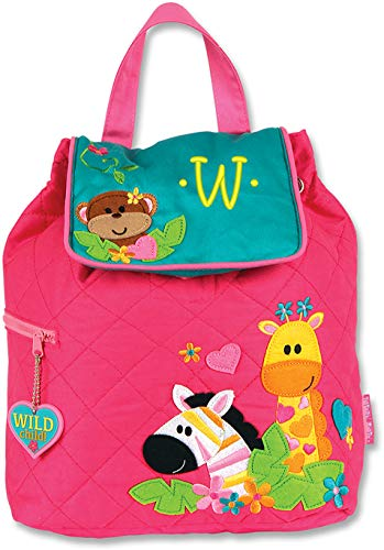 Monogrammed Stephen Joseph Girl Zoo Quilted Backpack, with Yellow Embroidered Initial W ()