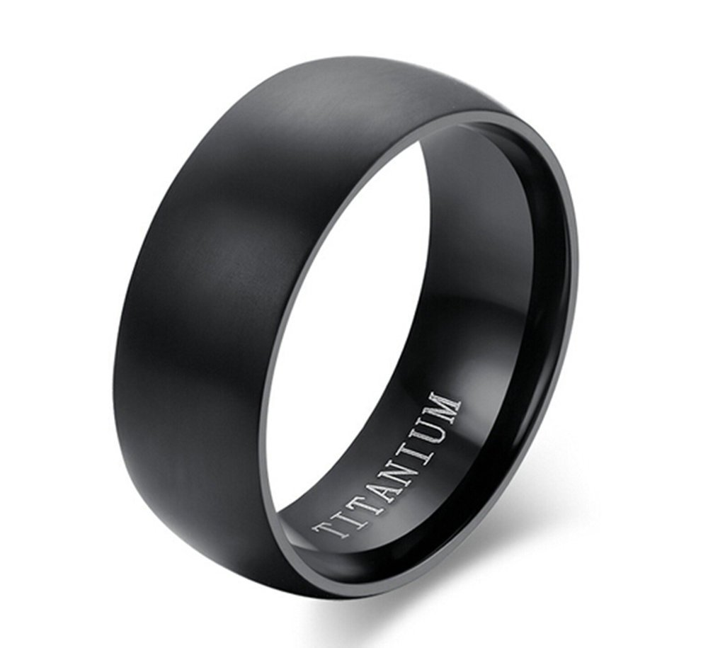 AMDXD Jewelry Titanium Stainless Steel Men's Fashion Rings Engagement Promise Bands Black US Size 7