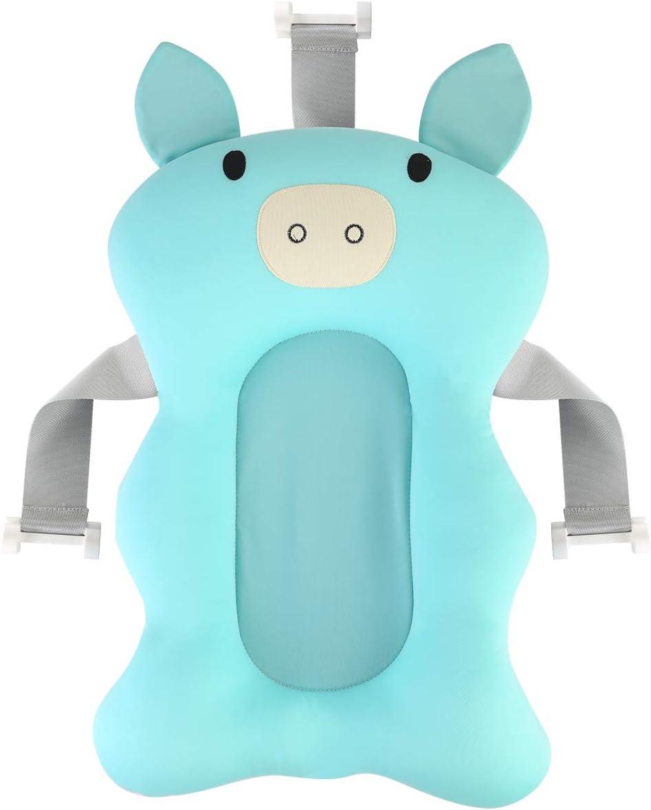 DaMohony Baby Badewannenkissen Baby Badewannenunterlage Neugeborene Anti-Rutsch Badewannenkissen schwimmend Bad Pad f/ür Baby Lignt Blauschwein