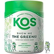 KOS Organic Greens Blend - 30 Servings - Amazing Tasting Super Greens Powder Organic Wheatgrass Oat Grass Spirulina Chlorella Prebiotics - Super Food Veggie Powder - 285g (Fresh Cut Apple Flavor)