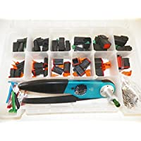 DEUTSCH, OEM BLACK CONNECTORS WITH SOLID TERMINALS, PIC TOOL AND GENERIC HDT-48-00 CRIMPER, 350 PIECE SET For Harley, Cat, Automotive, Motorcycle, Trailer, Truck and More
