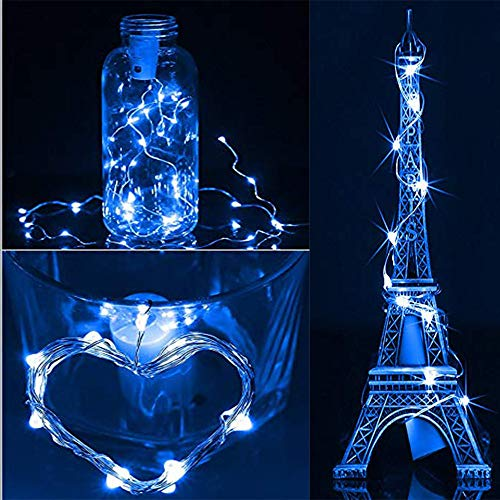 Jessie storee 3pc 2M 20LED Solar String Lights Copper Wire Light Festival Curtain Lanterns Window Waterproof Color Mixed Bottle Stopper Decoration Garden Wedding Patio Lawn Fairy (Blue) from Jessie storee-Decoration