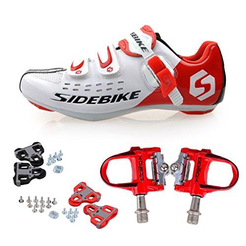 Skyrocket Zapatos de ciclismo de carretera Profesional Zapatos Biking del camino con Pedales de 1 par (Elija por favor un tamaño más grande que generalmente) Rojo Pedales + Blanco Zapatos