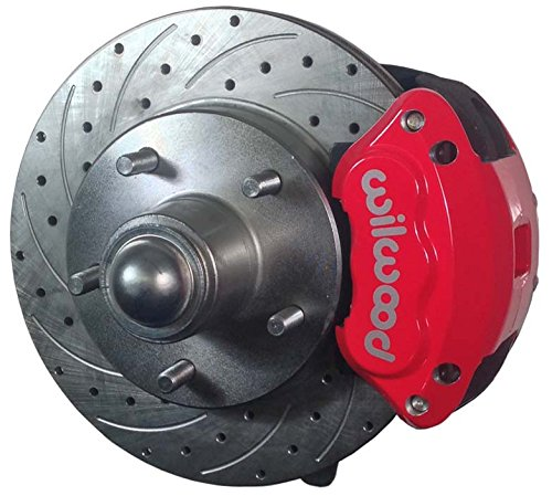Front Brake Spindle Disc Stock (NEW SOUTHWEST SPEED FRONT DISC BRAKE & STOCK HEIGHT SPINDLE KIT, DRILLED ROTORS, RED WILWOOD CALIPERS, LINES, FOR 79-87 GM A&G-BODY'S EL CAMINO MALIBU MONTE CARLO S10 BLAZER REGAL S15 JIMMY CUTLASS)
