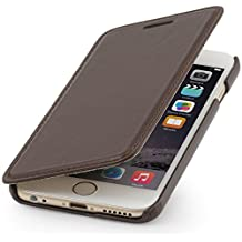 StilGut® Book Type Leather Case without Clip for Apple iPhone 6 Plus (5.5''), Mahogany Brown - Nappa