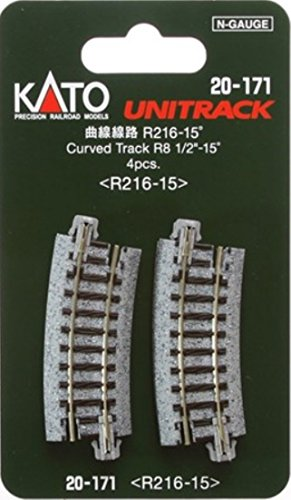 Scale Unitrack - Kato 20-171 N Unitrack 8 1/2 Radius 15 deg Curve 4pcs