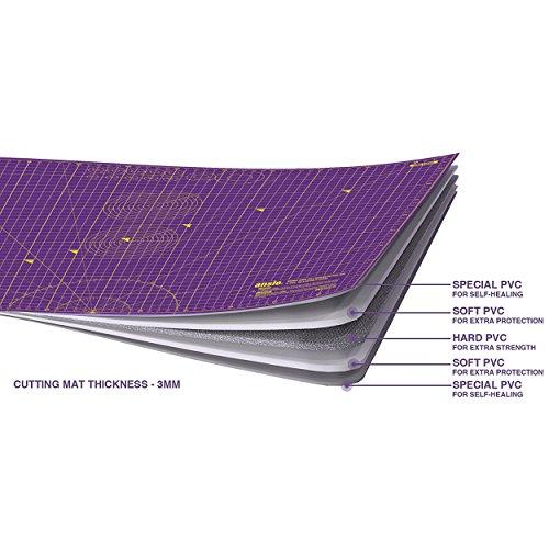 ANSIO A2 Tapis de découpe double face auto-cicatrisant 5 couches - Mesures impériales/métriques 22.5 pouces x 17 pouces / 59 cm x 44 cm - Super Rose/violet Roi