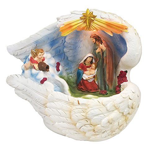 14 Inch Holy Family with Light and Water Fountain Feather Around Best Gift by Love's Gift
